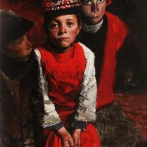 "33 Li Xiaolin, ""The Mysterious Eyes"", oil painting, 150 x 75 cm, 2011"