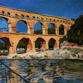 "39 Li Xiaolin, ""Pont du Gard"", oil painting, 51 x 61 cm, 2012"