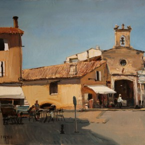 "43 Li Xiaolin, ""The Avignon Town"", oil painting, 60 x 80 cm, 2012"