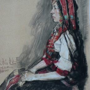 """46 Li Xiaolin, """"A Dancer from Yushu"""", pastel, 80 x 60 cm, 2009"""