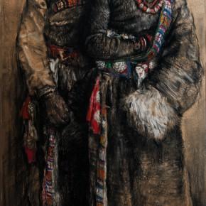 "48  Li Xiaolin, ""Yangjinlamu and Dejimeiduo"", pastel, 110 x 75 cm, 2012"