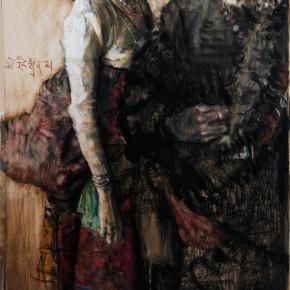 """50 Li Xiaolin, """"Qiangba and Zhuoma"""", pastel, 110 x 75 cm, 2012"""
