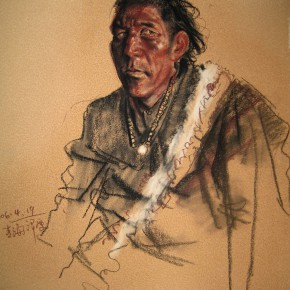 "51 Li Xiaolin, ""The Hunter"", pastel, 46 x 38 cm, 2006"