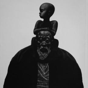 """88 Li Xiaolin, """"The Bronze Age"""", copperplate etching, 60 x 50 cm, 1998"""