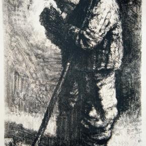 """90 Li Xiaolin, """"The Farmer"""", lithograph, 70 x 50 cm, 1999"""