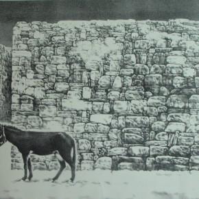 "91 Li Xiaolin, ""Landscape of the Hometown No.2"", lithograph, 70 x 47 cm, 1990"