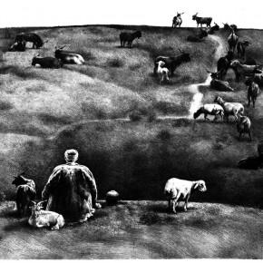 "92 Li Xiaolin, ""Landscape of the Hometown No.2"", lithograph, 45 x 60 cm, 1989"
