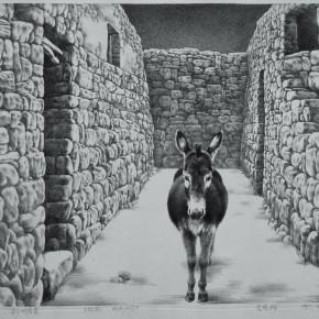"93  Li Xiaolin, ""Landscape of the Hometown"", lithograph, 40 x 54 cm, 1990"
