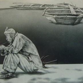 "95 Li Xiaolin, ""A Yellow River Man"", 70 x 47 cm, 1992"