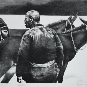 "98 Li Xiaolin, ""Driving Livestock No.1"", lithograph, 39 x 54 cm, 1990"