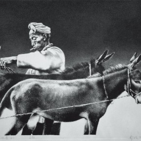 "99 Li Xiaolin, ""Driving Livestock No.2"", lithograph, 40 x 54 cm, 1990"