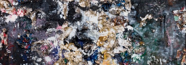 Michael Chow, Four Seasons, 2013-14; Mixed media including house paint, precious metals and trash on canvas, 373x267x20cm, Photo by Fredrick Nilsen