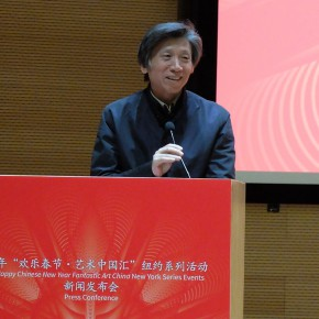 01 Fan Di'an addressed the press conference  290x290 - Chinese Public Artworks about to be presented at the Landmarks of New York in the 2015 Spring Festival