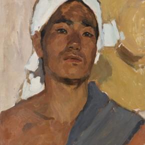 02 Wen Lipeng, The Young Farmer with a Headband, oil on cardboard, 41.8 x 32.3 cm, oil on cardboard, 1973