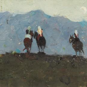 100 Wen Lipeng, Returning Late, oil on cardboard, 22.8 x 33.8 cm, 1961