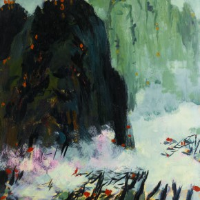 106 Wen Lipeng, Clouds Rising in the Mountains, oil on cardboard, 36.2 x 27.5 cm, 1973