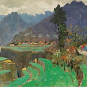 107 Wen Lipeng, Mountain Road No.1, oil on cardboard, 35.1 x 53.6 cm, 1976