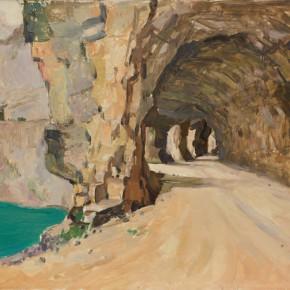 108 Wen Lipeng, Mountain Road No.2, oil on cardboard, 39.5 x 53.3 cm, 1976