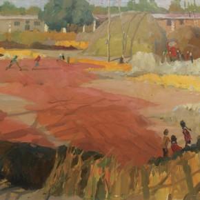 110 Wen Lipeng, The Autumn Harvest, oil on cardboard, 37 x 53 cm, 1976