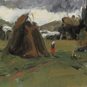 112 Wen Lipeng, The Scenery of a Ranch, oil on cardboard, 14.5 x 22 cm, 1961