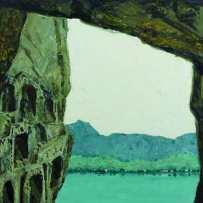 118 Wen Lipeng, Longmen Grottoes, oil on cardboard, 39.1 x 54.2 cm, 1981
