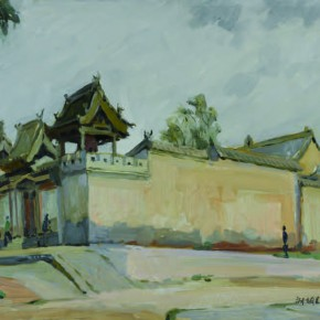119 Wen Lipeng, The Place Where Martyr Liu Hulan Fought During Her Death, oil on cardboard, 36.7 x 55.6 cm, 1976