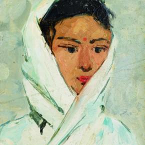 12 Wen Lipeng, The Uighur Girl with a White Scarf, oil on cardboard, 28.5 x 21.5 cm, oil on cardboard, 1961