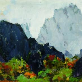 126 Wen Lipeng, The Autumn of Huangshan Mountain, oil on cardboard, 27.3 x 36 cm, 1973