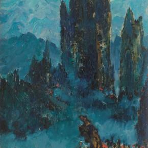 128 Wen Lipeng, Winds and Clouds of Huangshan Mountain, 49.6 x 37.2 cm, 1962