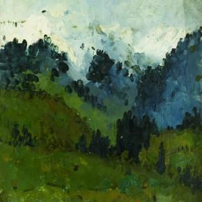 129 Wen Lipeng, Snow-Covered Landscape of Gongliu, oil on cardboard, 36 x 28 cm, 1961
