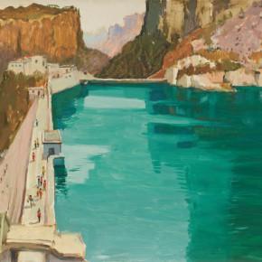 131 Wen Lipeng, Reservoir of the Mountain, oil on cardboard, 39.3 x 54.5 cm, 1976