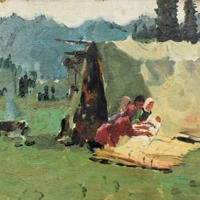 132 Wen Lipeng, Making a Felt, oil on cardboard, 28 x 32.5 cm, 1961