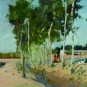 135 Wen Lipeng, The Edge of Village, oil on cardboard, 39.5 x 54.5 cm, 1976