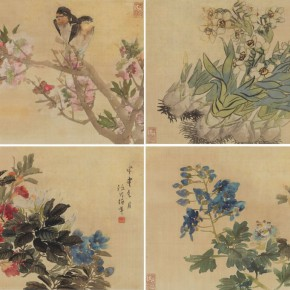 14 Ren Yi 1840 1896 Four Pieces of Flower and Bird Paintings color and ink on silk the painting framed in the mirror 27 x 40 cm x 4 1884 1885 290x290 - Artists of the People: Exhibition of Paintings Collected by Lao She and Hu Jieqing opened at the National Art Museum of China