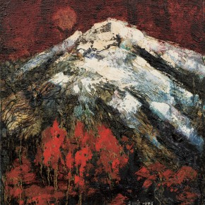 155 Wen Lipeng, The Late Autumn of Snow Mountains, oil on canvas, 27 x 25 cm, 1996