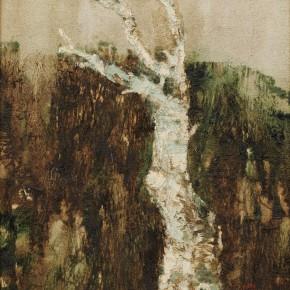 178 Wen Lipeng, A Lonely Birch, oil on canvas, 27 x 35 cm, 1997