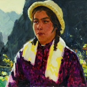 19 Wen Lipeng, A Warrior of Female Digging Stone Team, oil on cardboard, 36.5 x 50.4 cm, 1975
