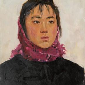 21 Wen Lipeng, Bao'e of Female Digging Stone Team, oil on cardboard, 32 x 41 cm, 1975