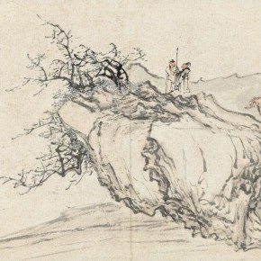 22 Lao She inscribed Huang Shen (1687-post 1768), Friends' Dialogue in a Lonely Cliff, color and ink on paper, 25.5 x 41 cm