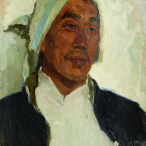 27 Wen Lipeng, The Farmer Covered by the Black Cloth, oil on cardboard, 45 x 35 cm, 1973