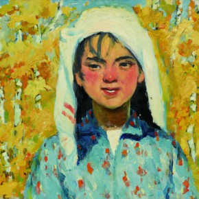 28 Wen Lipeng, The Girl with a White Headband, oil on cardboard, 31.6 x 41.3 cm, 1978