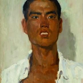 31 Wen Lipeng, A Rural Young Man, oil on cardboard, 43 x 33.3 cm, 1973