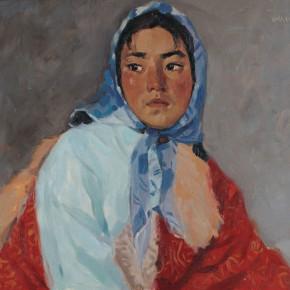 37 Wen Lipeng, The Blue Headband, oil on cardboard, 39 x 54 cm, 1978