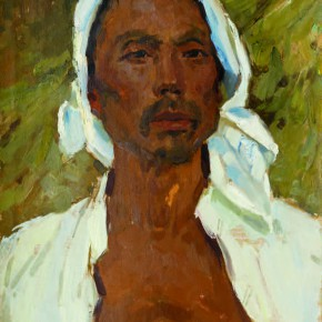 38 Wen Lipeng, The Farmer with the White Headband of a Blue Edge, 44 x 33.4 cm, oil on cardboard, 1973