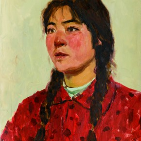 40 Wen Lipeng, A Warrior of Female Digging Stone Team in Hui County, oil on cardboard, 45.7 x 36 cm, 1975