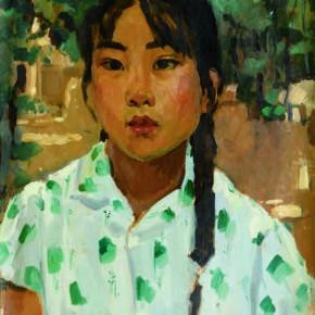 45 Wen Lipeng, A Girl from Hebei, oil on cardboard, 44.8 x 33.5 cm, oil on cardboard, 1973
