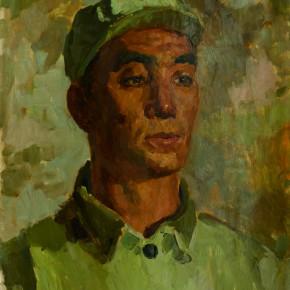 49 Wen Lipeng, Demobilized Soldier, oil on cardboard, 40 x 32.1 cm, 1973