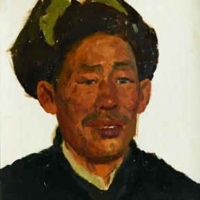 51 Wen Lipeng, The Farmer Wearing a Fur Hat, oil on cardboard, 29.2 x 33 cm, 1973