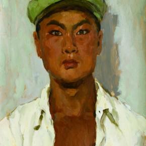 52 Wen Lipeng, The Young Farmer Wearing a Cap, oil on cardboard, 43.7 x 32.4 cm, 1973