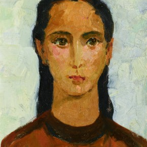54 Wen Lipeng, The Uyghur Girl with Big Eyes, oil on cardboard, 31 x 24.2 cm, 1961
